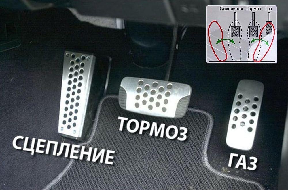 Расположение педалей в машине на механике с лева направо: сцепление, тормоз, газ