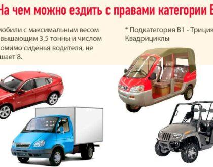 Транспорт, которым можно управлять с правами категории B