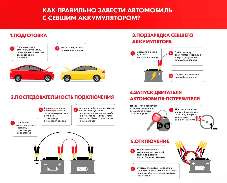 Как заводить автомобиль с севшим аккумулятором